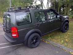 Landrover Discovery with  roof rack and spare tire mount