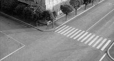 """""""L'eclisse"""" (M. Antonioni, 1962) ~ L'incrocio tra Viale della Tecnica e Viale del Ciclismo all'Eur, luogo degli appuntamenti tra Monica Vitti e Alain Delon."""