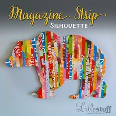 Magazine strip silhouette of grizzly bear: Easy DIY Wall Art.me Magazine strip silhouette of grizzly bear: Easy DIY Wall Art. Collage Magazine, Magazine Art, Stuff Magazine, Diy Wall Art, Diy Art, L'art Adolescent, Collage Simple, Art Du Collage, Wall Collage