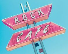 Photograph of a retro pink and white 'Rock Cafe' light up sign on a blue sky background. Rock Cafe Wall Art by J. McRoberts from Great BIG Canvas. Bedroom Wall Collage, Photo Wall Collage, Collage Pictures On Wall, Wall Art Collages, Bedroom Wall Pictures, Wall Photos, Blue Aesthetic Pastel, Retro Pictures, Cafe Wall