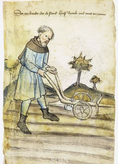 Illustration of a Farmer, Reinhold - From the House Books of the Nuremberg Twelve Brothers Foundation, records of a charitable foundation started in the city of Nuremberg in 1388. The foundation would take 12 poor and needy people and provide them with training in a trade. Starting around 1425 their books would contain one-page illustration of the people they had helped, usually giving their name and what profession they were in. - Nuremburg, Germany - c. 1425-1450