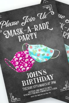 Have fun with your party and send out some 'mask-a-rade' party invitations. It will set the mood and your guests will know straight away what to expect. See more party ideas and share yours at CatchMyParty.com #catchmyparty #partyideas #socialdistancing #socialdistancingparty #socialdistancingpartysupplies #partyinvitation Baby Boy 1st Birthday Party, Happy Birthday Signs, Birthday Celebration, Party Rules, Party Signs, Baby Shower Invitations, Birthday Invitations, Rainbow Balloons, Floor Stickers