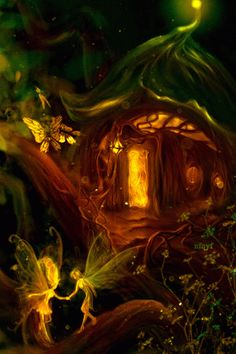 Image result for autumn fairy at night gif