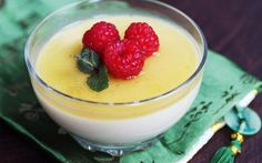 A sweet coconut milk jelly topped with orange and cinnamon syrup.