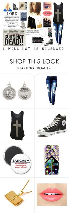 """""""God's Not Dead"""" by gabby-hulin ❤ liked on Polyvore featuring BillyTheTree, WearAll, Converse, Casetify, MBLife.com, Fiebiger and humanrights"""