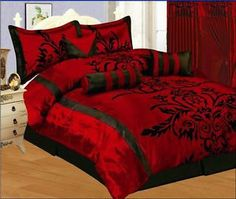 QUEEN BED SETS RED AND BLACK   7p-Queen-Bedding-Black-Burgundy-Red-Flock-Satin-Comforter-Set-Bed-In-a ...