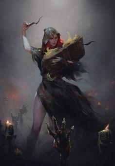 Digital Art — scifi-fantasy-horror: by Anna Krasova Dark Fantasy Art, Fantasy Witch, Witch Art, Fantasy Rpg, Medieval Fantasy, Fantasy Girl, Fantasy Artwork, Fantasy Character Design, Character Concept