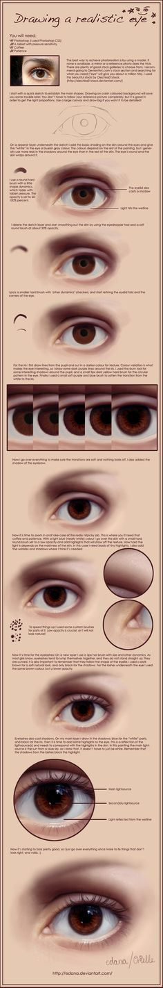 Drawing a realistic eye by Edana on DeviantArt [link] My last eye painting tutorial is pretty old and I've been getting e-mails about adding more detail to it. There's like, a billion eye painting tuts out there, but I just wrote one . Digital Painting Tutorials, Digital Art Tutorial, Art Tutorials, Realistic Eye, Realistic Drawings, Art Drawings, Perfect Lips, No Photoshop, Art Graphique