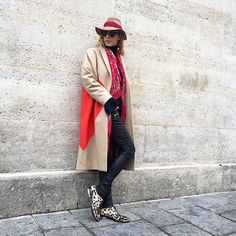 Let your personal style shine through cold-weather accessories: a coordinating hat, scarf, gloves, and booties will do the trick.Barbara Bui pants and shoes, Maison Michel hat.MSGM Heart Felt Coat, $876 $439, available at By Symphony; Saint Laurent Bandana Square Scarf, $645, available at Saint Laurent. #refinery29 http://www.refinery29.com/january-outfit-of-the-day-ideas#slide-5
