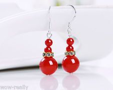 Pretty 6-12mm Smooth Red jade gemstone 925 silver Hook Drop/Dangle earrings