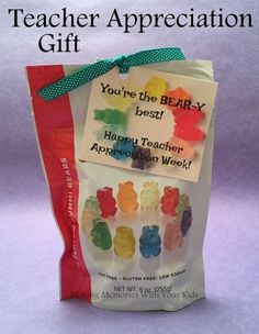 You're the Bear-y Best Teacher - Teacher Appreciation Gift with Tag #teacherappreciationgifts #ParentingGifts