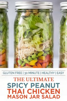 This easy Thai Chicken Mason Jar Salad with a Spicy Peanut Dressing is the perfect make ahead lunch. A Chicken Salad that's easy to make and epic to eat! Chicken Salad Recipes, Healthy Salad Recipes, Salad Chicken, Spicy Recipes, Asian Recipes, Rotisserie Chicken Salad, Asian Chicken Salads, Healthy Juices, Healthy Drinks