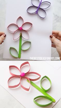 Toilet Paper Roll Flowers Such A Fun Spring Craft For & toilet. - Toilet Paper Roll Flowers Such A Fun Spring Craft For & toilettenpapierrolle blum - Spring Crafts For Kids, Paper Crafts For Kids, Diy For Kids, Crafts To Make, Easy Crafts, Arts And Crafts, Paper Crafting, Paper Folding For Kids, Decor Crafts