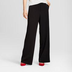 Women's Wide Leg Bi-Stretch Twill Pants - A New Day Black 12L, Size: 12 Long