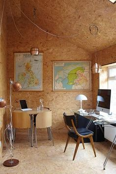 homes - bristol house: interior of home office with chairs and lamps and maps on wall Shed Interior, Decor Interior Design, Interior Architecture, Interior Decorating, Chipboard Interior, Plywood Interior, Painted Osb, Bristol Houses, Up House