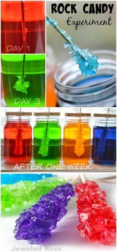 Making rock candy at home is really easy and lots of fun!  This activity is a beautiful Science experiment and a yummy treat all in one....