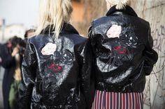 GANNI Streetstyle | Shea Marie and Caroline Vreeland by W Magazine| Scott Leather Jacket and Donaldson Silk Dress