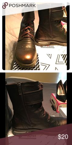 Bronze Combat Boots It says 39UK/9US on the box but these run more like a 39.5 or 9.5. Subtle bronze tone with gunmetal embellishment and nice stitching across the toe. Never worn only tried on. NIB Checklist Shoes Combat & Moto Boots