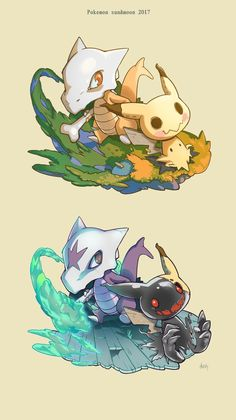 Marowak and Mimikyu - Ghost Pokemon, Pokemon Comics, Pokemon Sun, Cool Pokemon, Pokemon Fusion Art, Ghost Type, Charizard, Digimon, Cute Art