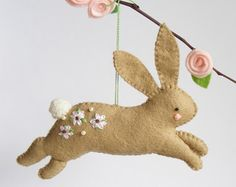 PDF pattern  Easter ornaments  Bunny hen and dove felt