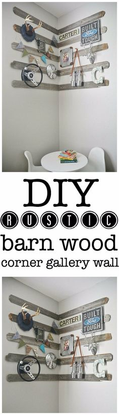 In closet with screw in hooks for necklaces: DIY corner gallery wall for a boys room using old barn wood, antlers, & other rustic details. The perfect focal point for any room & so easy to re-create! Rustic Wood Walls, Rustic Wall Art, Diy Wall Art, Wood Wall Art, Diy Wood, Diy Art, Wall Decor, Barn Wood Crafts, Barn Wood Projects
