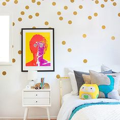 Wisehands Golden Wall Dots 218 Decals Pack of 4 Sheets Removable Circle Sticker Wall Decoration for Home Living Room/ Baby Nursery Room / Bedroom and More
