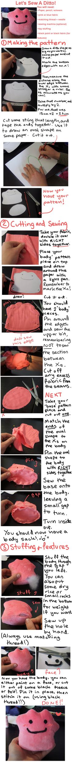 Pokemon Plush Tutorial | ... Sew A Ditto! beginner's plushie tutorial by…