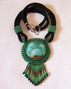 Statement Beadwork Bead Embroidery Pendant Necklace