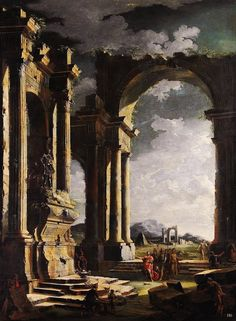 Architectural Capriccio with the Tomb of a Roman Emperor.  18th.century. Leonardo Coccorante. Italian 1680-1750. oil/canvas.