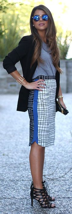 Check Print Skirt Fall Inspo by The Girl From Panama