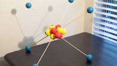 Modern Decor: DIY Molecule Model Today Im sharing a great way to add a playful element in your home decor! Why not have a little science nerd fun by creating your very own DIY Molecule Model! Its a great way to add some personality in your space Chemistry Projects, Science Chemistry, Science Fair, Science Lessons, Science Projects, School Projects, Projects For Kids, Physical Science, Teaching Science