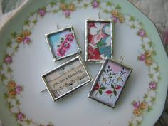 Charms from vintage hankerchief. So sweet! Embroidery Transfers, Machine Embroidery, Embroidery Designs, Embroidery Stitches, Hand Embroidery, What A Nice Day, Handkerchief Crafts, Jewelry Crafts, Handmade Jewelry