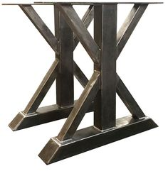 Metal Trestle Style Table Legs - Heavy Duty Steel Table Base - Perfect For Dining Room Table Trestle Table, Wood Table, Trestle Legs, Dining Table Height, Metal Design, Metal Table Legs, Steel Table, Conference Table, Reclaimed Barn Wood