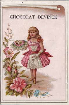 CHROMO CHOCOLAT DEVINCK - GIRL IN PINK AND WHITE HOLDING UP BOUQUET OF FLOWERS IN RIGHT HAND AND LETTER IN LEFT HAND - GOMBERT - GO1-25 | Flickr - Photo Sharing!
