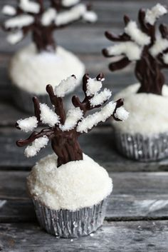 Make little chocolate trees and plant them in snowy cupcakes. | 30 Adorable Treats To Make When It Snows