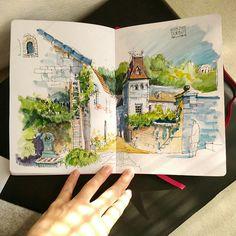 Travel sketchbook, art sketchbook, watercolor paintings, watercolors, art d Watercolor Sketchbook, Arte Sketchbook, Watercolor Paintings, Watercolour, Art Sketches, Art Drawings, Sketch Drawing, Travel Sketchbook, Architecture Sketchbook