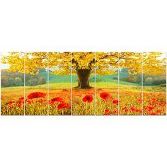 DesignArt 'Beautiful Autumn Yellow Tree' Photographic Print Multi-Piece Image on Canvas