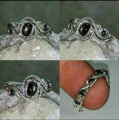 Size 8 Black Star Sapphire/Hematite Sterling Silver Ring