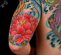 JAPANESE PEONY FLOWER AND WATER TATTOO | durbmorrison.com
