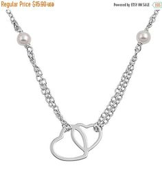 Hot Trend Interlocking Hearts Necklace Solid 925 Sterling Silver Simple Plain Hearl Love Valentine Pendant Necklace Mother Girlfriend Gift