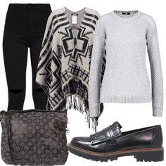 Un outfit semplice per un giro in citta', composto da jeans skinny black, maglione grey con scollo tondo, mantella multicolor, mocassini color navy, borsa a spalla color piombo.