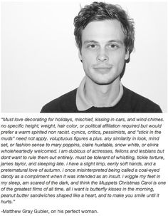 Matthew Gray Gubler is absolutely adorable. He's awesome. *SWOON!!!*
