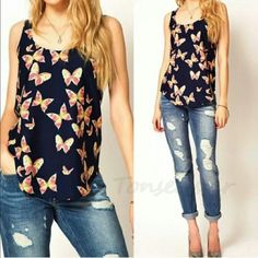 """✨Very Soft & Cute Pink Butterflies Sleeveless Top✨ ✨BRAND NEW✨Who Doesn't Love Butterflies? This Top is SO Soft & Silky!✨ A """"Must Have"""" Addition to Your Summer Wardrobe!✨Butter Soft with Pretty Pink Butterflies Scattered Over a Basic Navy Blue Background! Fits Like a Small✨ So Cute! ??? Tops Blouses"""