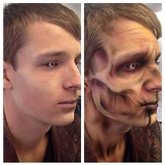 Before and after airbrushed zombie #facepainttutorial