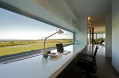 Awesome modern home office design inspiration with picture : Modern Home Office Workspace With Long Desk And Panoramic Views