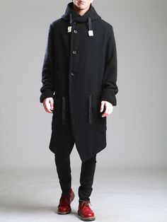CURLY WOOL HOODED COAT WITH FLEECE LINING - JACKETS, BLAZERS, SHIRTS, TROUSERS, JERSEY, KNITWEAR, ACCESORIES - Man -