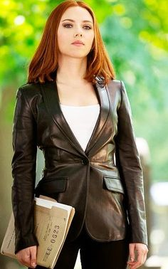 """http://www.prostarjackets.com/products/Black-Widow-Scarlett-Johansson-Jacket.html  This is an additional woman's outfit at Prostar Jackets for our appreciated women consumers. We acquire 10,000+ satisfied customers. You can easily wear this stylish """"Black Widow Captain America Scarlett Johansson Leather Jacket"""" at parties, clubs, casual and formal get-together, to remain audacious. #WomenFashion #WomenStyle #jacket #Celebs"""