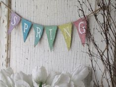 SPRING Glittered Mini Burlap banner Bunting Pennant by funkyshique on Etsy, 24.00