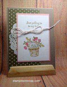 Stampin' Up! Thinking of You card made with Pretty Kitty stamp set and designed by Demo Pamela Sadler. See more cards at stampinkrose.com #stampinkpinkrose #etsycardstrulyheart