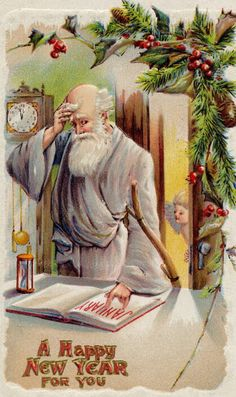 New Years 1911 Father Time Clock Calendar New Year Baby Arrives Vintage Postcard Vintage Christmas Images, Vintage Holiday, Christmas Art, Christmas Pictures, Baby New Year, Happy New Year 2019, Vintage Greeting Cards, Vintage Postcards, Vintage Happy New Year
